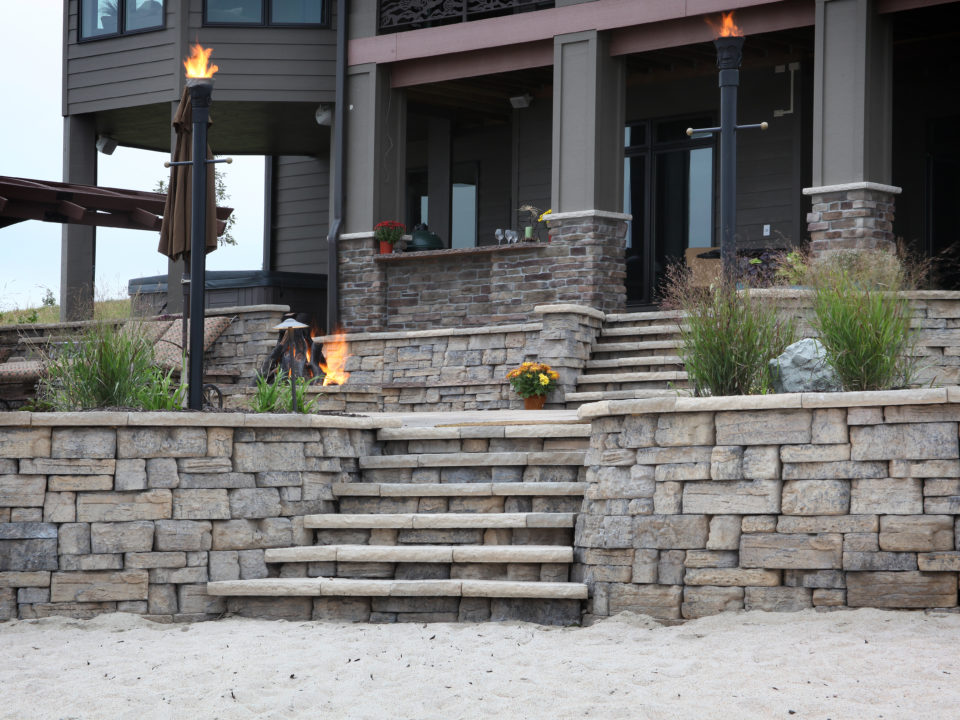 retaining walls and patio