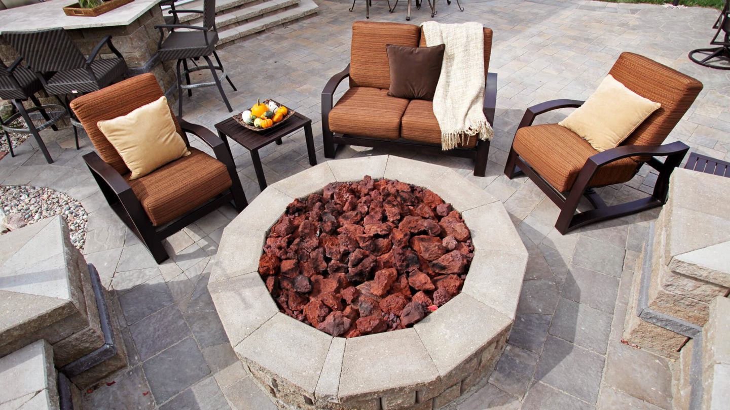 Fire pit patio seating area