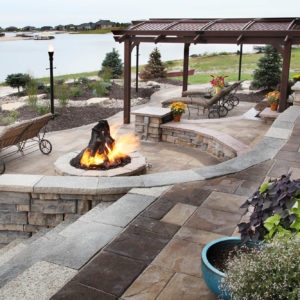 Large paver patio with fire pit