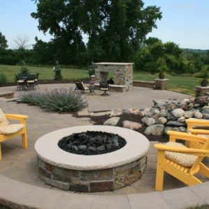 Paver patio and fire features