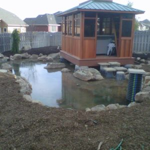 Pond and hot tub