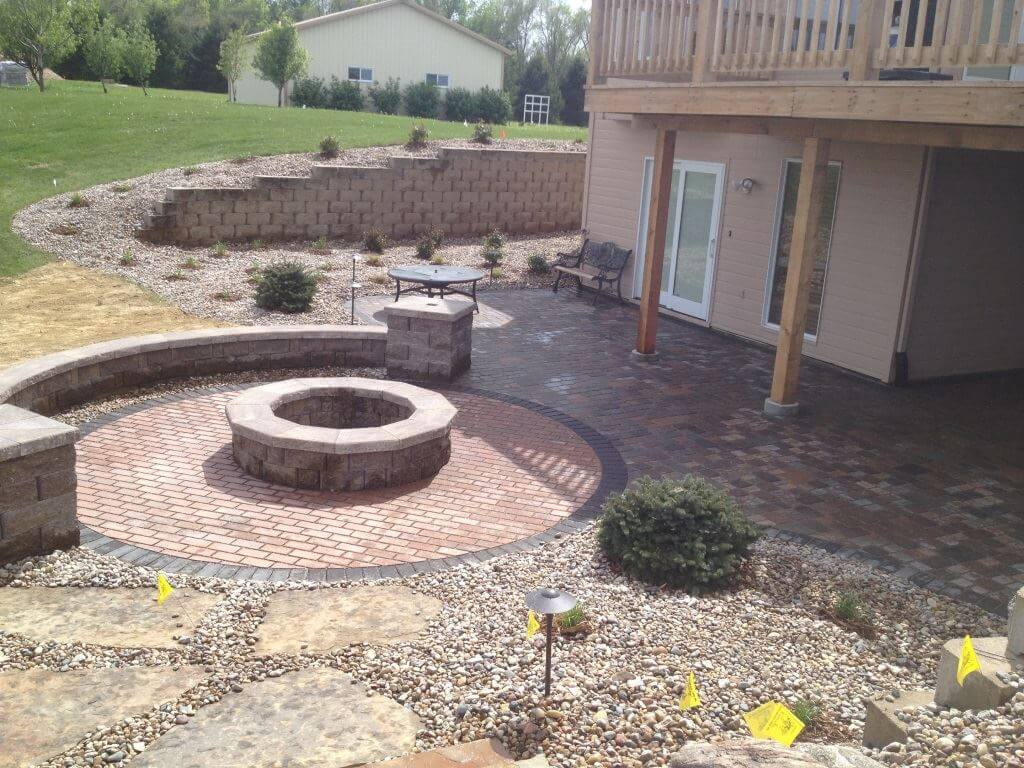 River rock and patio