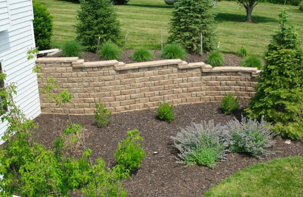 Softscape and retaining wall