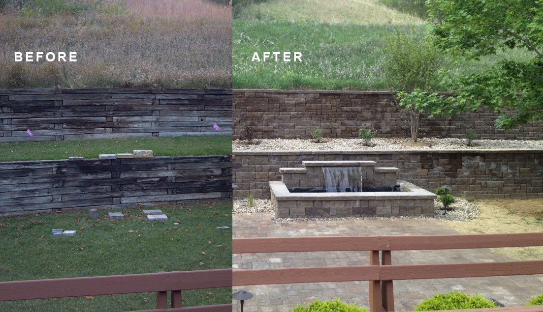 retaining wall and water feature - before and after